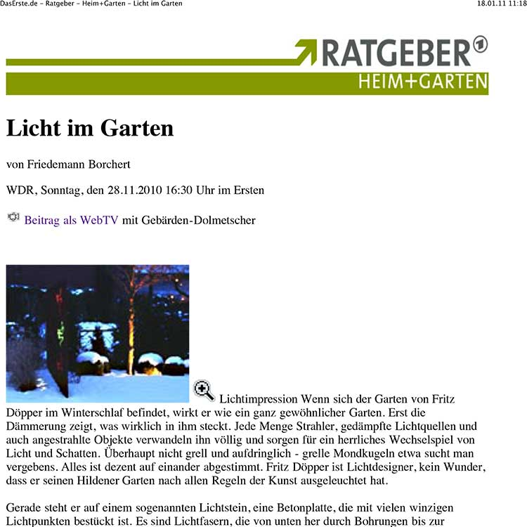 LUC lichtundcreatives | Bericht in der ARD
